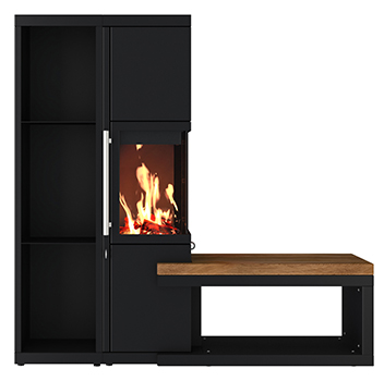 neu moderner kamin mit holzregal und sitzbank. Black Bedroom Furniture Sets. Home Design Ideas